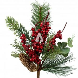 Noel - 18 Inch Red Berry and Pinecone Spray Details